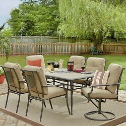 7 PC Outdoor Dining Garden Set 1 Table 6 Cushoned Steel Chairs Modern Design