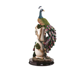 COLORFUL PEACOCK PLINTH STATUE SCULPTURE Mom Wife Gift Zen Whimsy Bird Art Decor