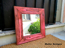 wood framed mirrors small wall mirrors wooden mirror Red mirror $109.00