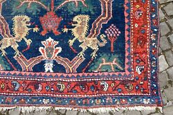 swiss.antiques ANTIQUE USED 1900's LION RUG  RAREST NW GROUP DESIGN LIONS