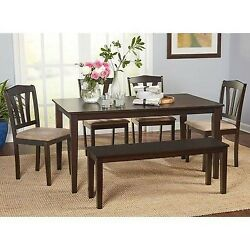 Dining Table Set For 6 Country Kitchen Farmhouse Log Cabin Furniture Chair Bench