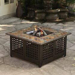 Patio Fire Pit Table Gas Propane Outdoor Large Bronze Ceramic Log With Cover NWT