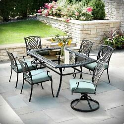 PATIO DINING SET OUTDOOR GARDEN HOME KITCHEN FURNITURE TABLE AND CHAIRS 7 PIECES