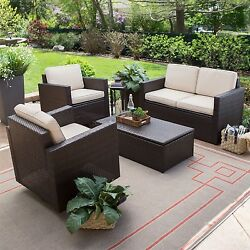 Outdoor Wicker Resin 4-pc Patio Furniture Dinning Set with 2 Chairs
