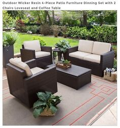 4-Piece Patio Furniture Conversation Set: 2 Chairs Loveseat Outdoor Wicker Resin