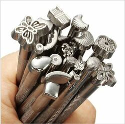 20pcs Leather Tools Working Making Saddle Craft Stamps Set Carving Punches Brass