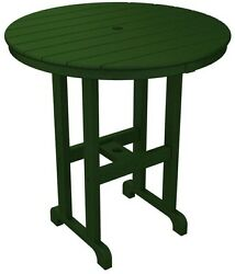 POLYWOOD La Casa Cafe Green Round Patio Counter Table Coffee Furniture Wood