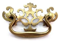 Brass Antique Hardware Vintage Pierced Back Chippendale Drawer Pull  3