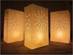 White Luminary Bags 100 Count Sunburst Design Wedding Reception Party and Event