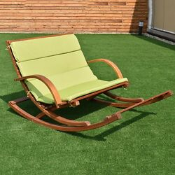 Outdoor 2Persons Rocking Wooden Lounge Chair With Cushion Solid Wood Constructio