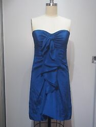 BCBG MAX AZRIA Deep Blue Ink Ruffle Sexy Mini Cocktail Chiffon Dress 6 M $20.00