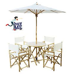 6 Piece Garden Folding Dining Set Bamboo Outdoor Patio Table Chairs Furniture