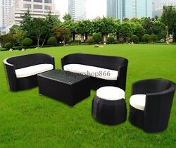 5 Modern Rattan Patio Sectional Wicker Sofa Furniture Set for All Weather Home