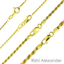 14K Gold over 925 Sterling Silver Diamond Cut Rope Chain Necklace All Sizes $68.99