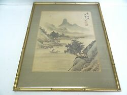 Original Old Hand Signed Asian Japanese Art Stream Valley Landscape Paint Silk
