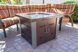 Outdoor Patio Fire Pit Table Deck Furniture Gas Fireplace Propane Heater w Cover