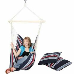 Rope Hanging Chair Hammock Patio Garden Tree Swing 2 Cushions Hammock Straps