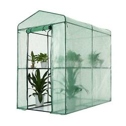 4 Shelves Greenhouse Portable Mini Walk In Outdoor Green House 2 Tier R6N9