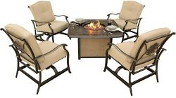 5-Piece Patio Fire Pit Seating Set w Cast-Top Fire Pit Cushions Furniture Table