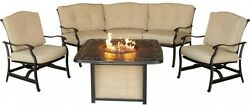 4-Piece Patio Fire Pit Lounge Set w Cast-Top Fire Natural Oat Cushions Furniture