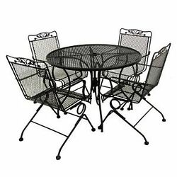 5-Piece Wrought Iron Outdoor Patio Round Table and Chairs Dining Set Black