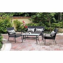 4-Piece Outdoor Patio Conversation Set Table Loveseat and Chairs w Pillows-Grey