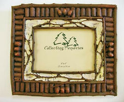 Set of Two FRAME 4X6 BIRCH LOGS ACORNS Photo Cabin Log Home Picture Decor Gifts