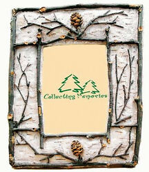 Set of Two PICTURE FRAME TWIG PINE CONE Photo Cabin Log Home Picture Decor Gifts