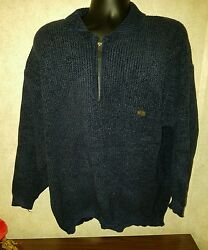 Paul & Shark Yachting 12 Zip Sweater used Navy Thick Ribbed Wool Large Warm