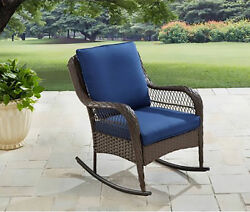Rocking Chair For Patio Outdoor Furniture Deck Pool Lawn Garden Blue Cushion New