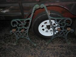 PAIR antique cast iron bench sides 1920s ornate chippy paint See pics beautiful