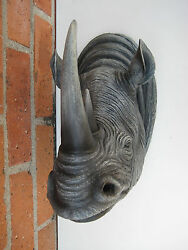 RHINO RHINOCEROS HEAD WALL MOUNT DECORATION LODGE CABIN LOG HOME DECOR