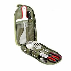 Outdoor Camping Portable Kitchen Cooking Utensils Tableware Cookware Sets Bag