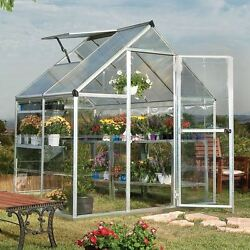 Small Greenhouse Polycarbonate Panels Aluminum Frame Hybrid Backyard 6 X 4 Ft