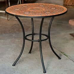 Round Outdoor Patio Bistro Table with Terracotta Mosaic Tiles Black Metal Frame