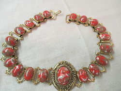 Vintage heavy links Necklace with orange red gold white confetti Lucite Stones