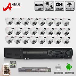 ANRAN 24CH 1080P PoE NVR Security System 24Pcs 2MP Outdoor PoE Dome CCTV Camera