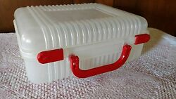 Unique Vintage used clear plastic storage container case red handle supplies sew