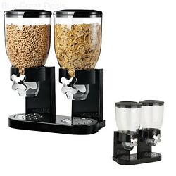 Double Two Cereal Dispenser Dry Food Candy Storage Canister Kitchen Container $40.99