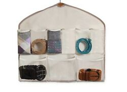 NIP Real Simple Natural Canvas Two Sided Belt And Accessory Organizer 18 Pockets