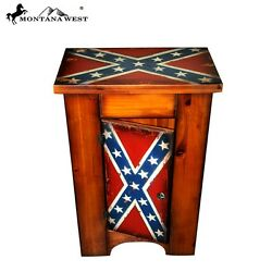 Montana West Flag Rustic Wooden Cabinet Western Home Decoration