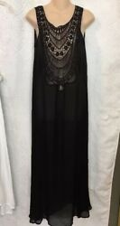 Miguelina Dress Black Long Cover Up Leighanne Silk Size P NWT $395 $175.00