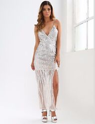 Women's Through the Flame Sequin Dress SILVER SIZE L Maxi Formal Prom  $70.00