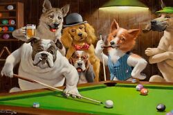 Home Art Wall Dogs Playing Pool billiards Oil Painting Picture Printed On Canvas $12.77