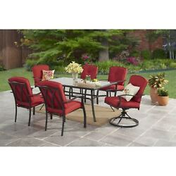 7-Piece Steel Outdoor Patio Dining Set Red Cushioned Chairs 2 Swivel and Table