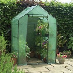 Garden Compact Walk In Greenhouse Frame Shelves and amp; Reinforced Cover Cold