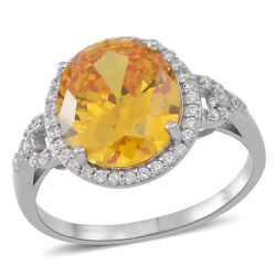 CANARY YELLOW WHITE SIMULATED DIAMOND OVAL HALO STERLING SILVER RING SIZE 8