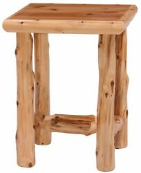 Rustic Log End Table Night Stand Cabin Lake Nightstand