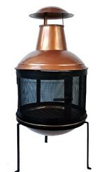 Copper Wood Burning Chimney Chimnea Outdoor Fireplace Fire Pit Deck Patio Yard