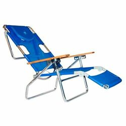 Ostrich Beach Chair Outdoor Tanning Patio 3 in 1 Lounge Folding Padded Blue New